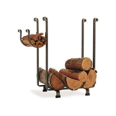 Rectangular Log Rack with Hammered Steel Finish