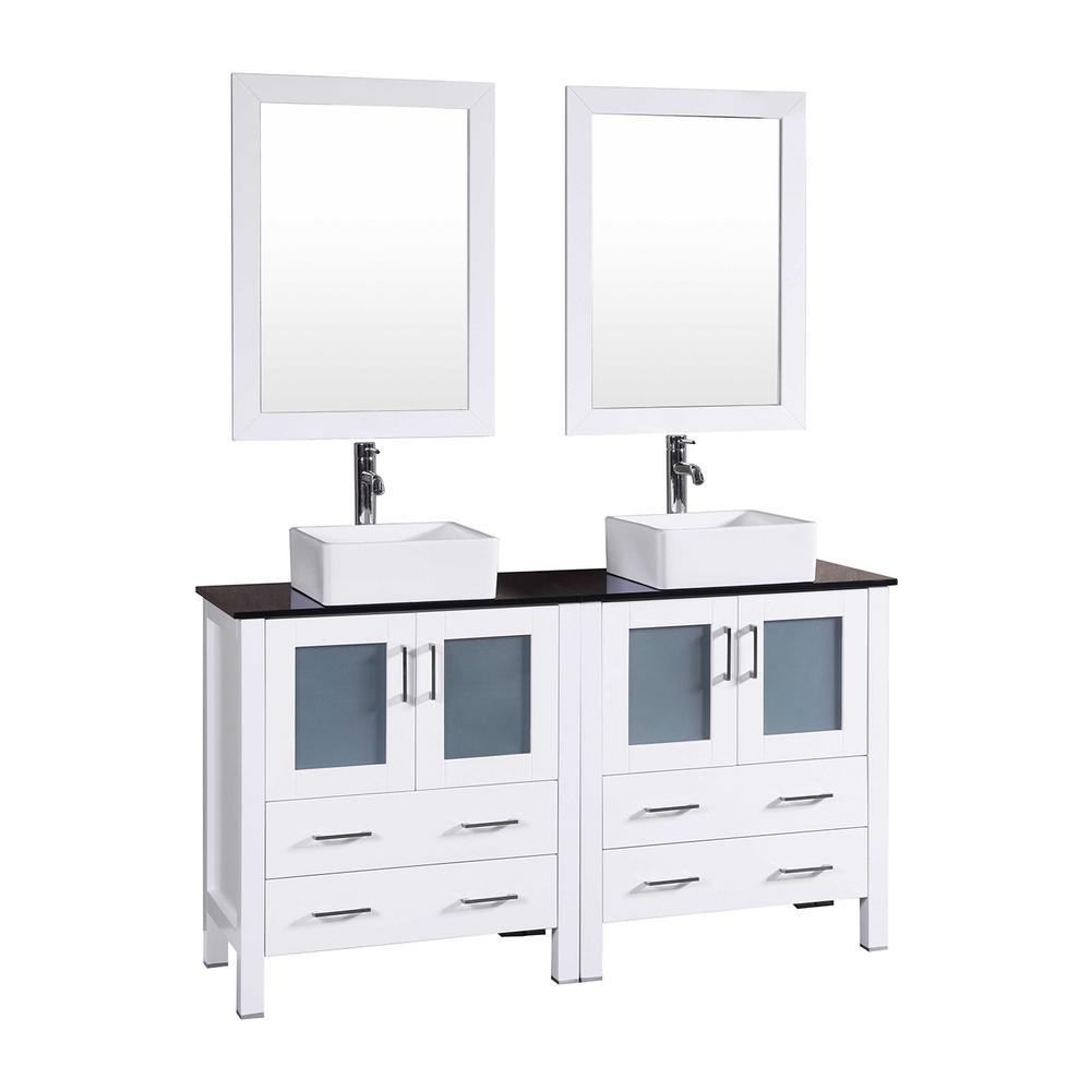 60 in. W Double Bath Vanity in White with Tempered Glass