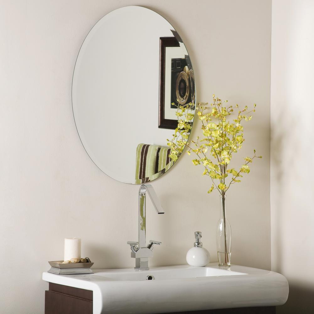 22 in. W x 28 in. H Frameless Oval Beveled Edge Bathroom Vanity Mirror in Silver