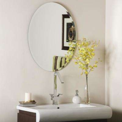 28 in. x 22 in. Oval Odelia Oval Bevel Frameless Wall Mirror with Beveled Edge