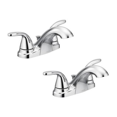 Adler 4 in. Centerset 2-Handle Bathroom Faucet in Chrome (2-Pack)