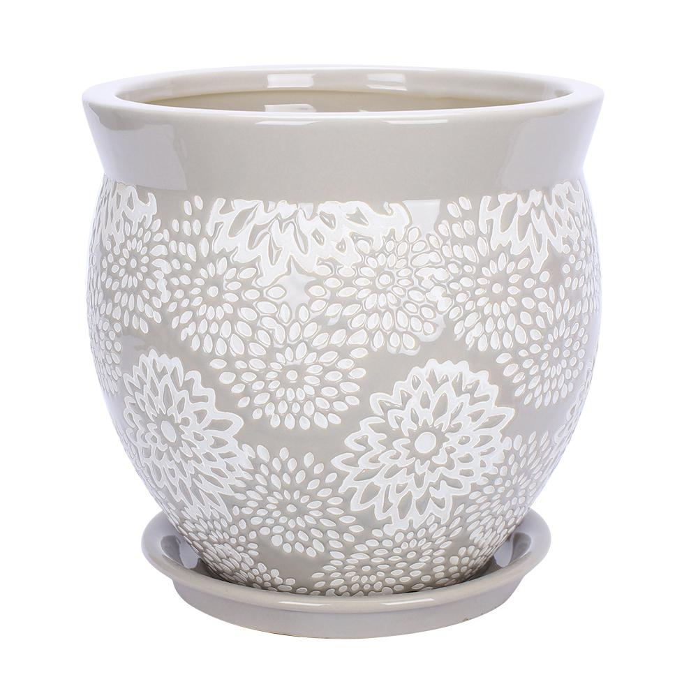 Southern Patio Farrah 9.1 in. Dia Gray Ceramic Planter