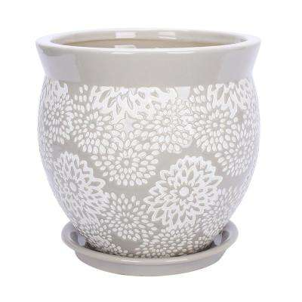 Farrah 9.1 in. Dia Gray Ceramic Planter
