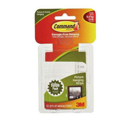 3 lb. Medium White Picture Hanging Adhesive Strips (12 sets of Adhesive Strips)