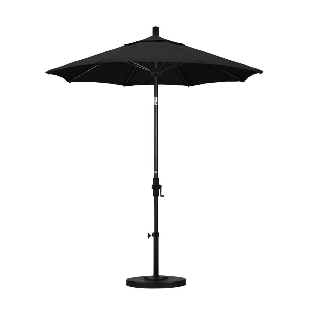 7-1/2 ft. Fiberglass Collar Tilt Patio Umbrella in Black Olefin