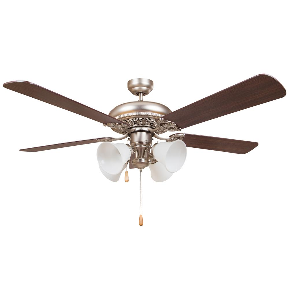 Y Decor Wooster 52 In Satin Nickel Ceiling Fan Wooster