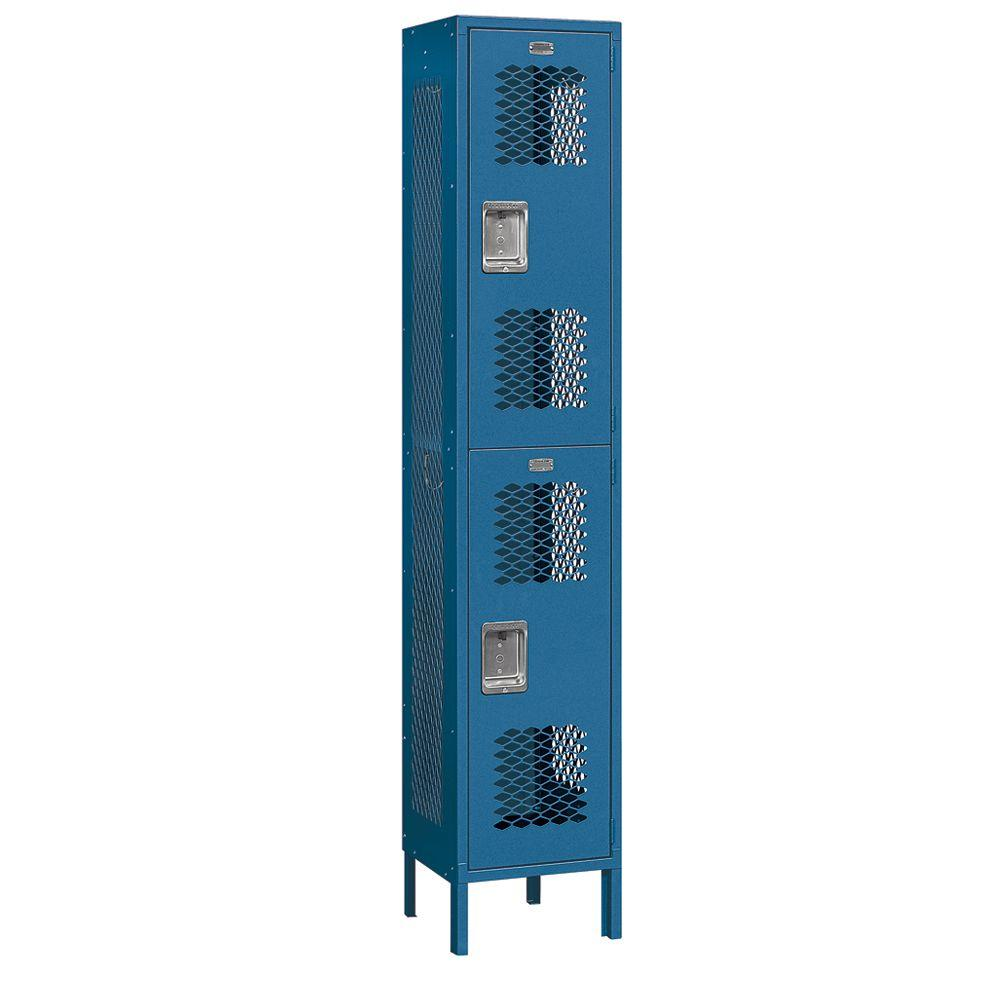Salsbury Industries 82000 Series 15 in. W x 78 in. H x 15 in. D 2-Tier Extra Wide Vented Metal Locker Assembled in Blue