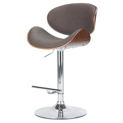 Marana 45.3 in. Distressed Brown Faux Leather Bentwood Adjustable Height Gas Lift Bar Stool
