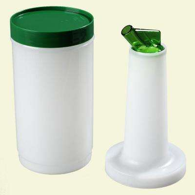 Complete Quart Stor 'N Pour System Polyethylene Container and Neck in White with Spout and Lid in Green (Case of 12)