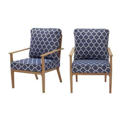 Alderton Brown Steel Outdoor Patio Lounge Chair with CushionGuard Midnight Trellis Navy Blue Cushions (2-Pack)