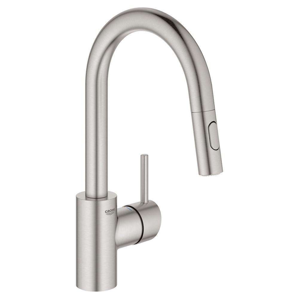GROHE Concetto Single-Handle Dual Spray Pull-Out Sprayer Kitchen Faucet  1.75 GPM in SuperSteel InfinityFinish