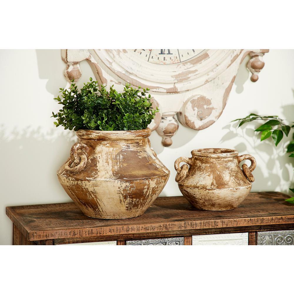 10 in. Distressed Beige and Brown Ceramic Decorative Vase