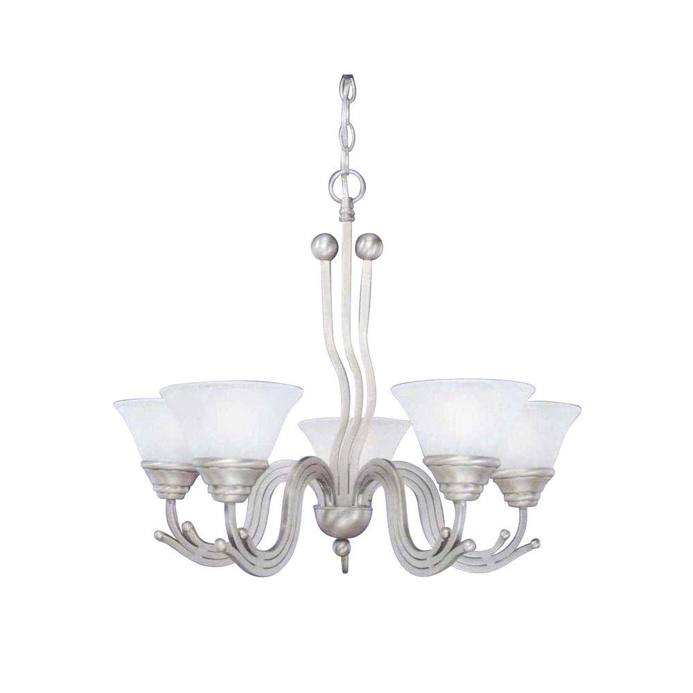 Concord Series 5-Light Brushed Nickel Chandelier with White Marble Glass Shade