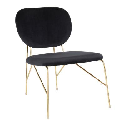 Gwen Gold and Black Velvet Accent Chair