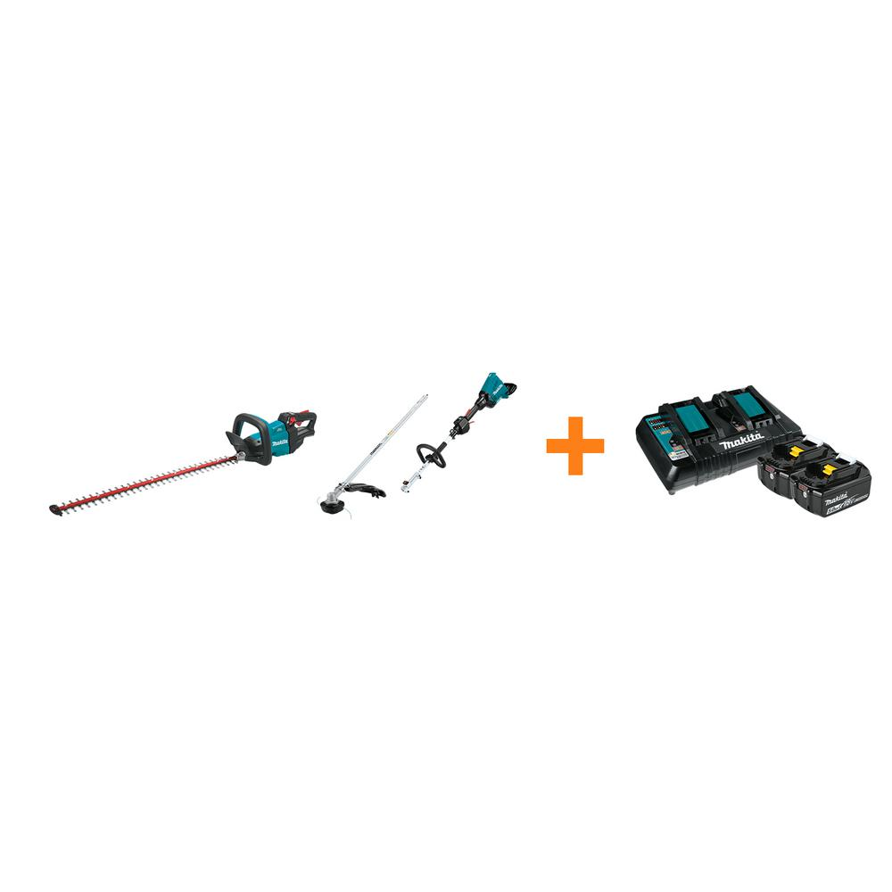 Makita 18V LXT Cordless 30 in. Hedge Trimmer and 18V X2 LXT Couple Shaft Power Head with bonus 18V LXT Starter Pack was $827.0 now $578.0 (30.0% off)