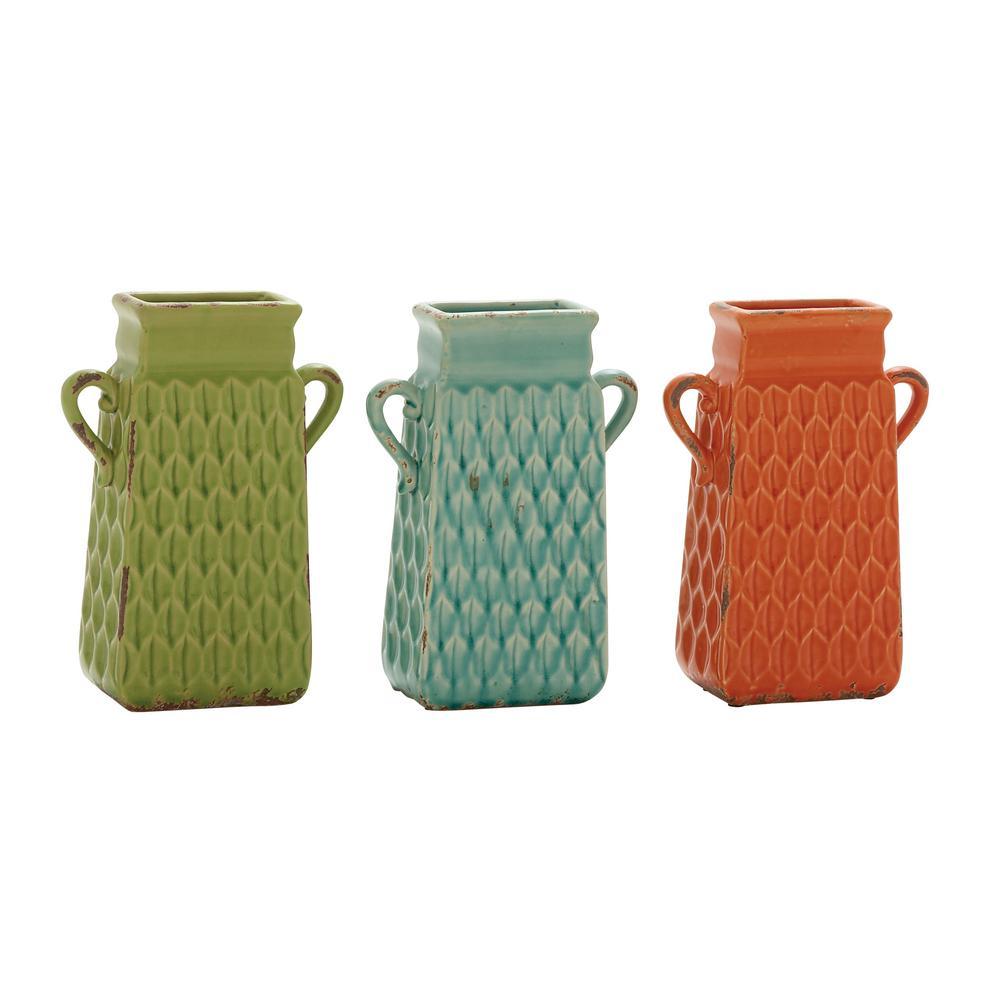 10 in. x 7 in. Rustic Porcelain Grater-Shaped Novelty Vases (3-Pack)
