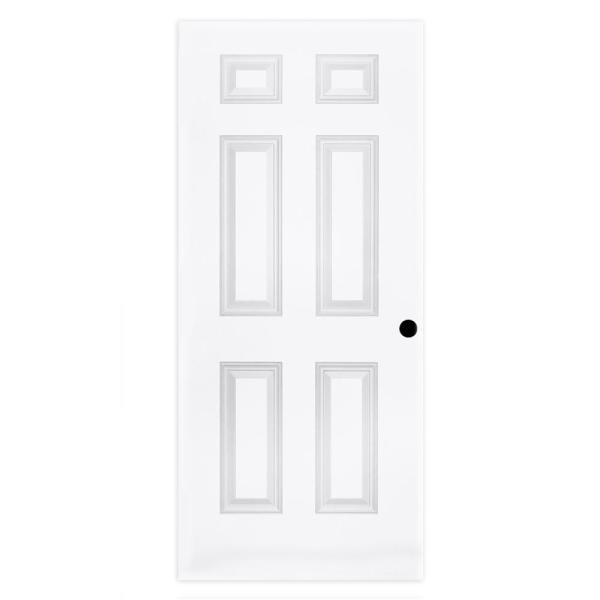 32 in. x 80 in. 6-Panel Textured Hollow Core Primed White Pre-Bored Composite Interior Door Slab