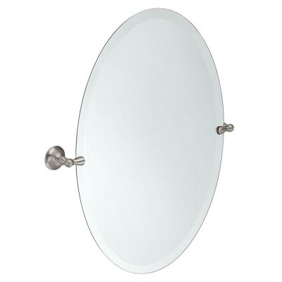 Sage 26 in. x 23 in. Frameless Pivoting Wall Mirror in Spot Resist Brushed Nickel