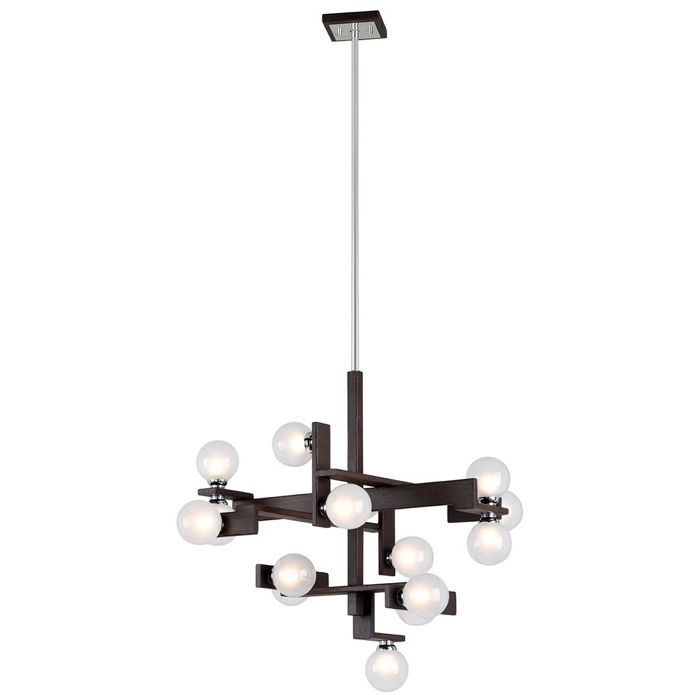 Troy Lighting Network 15-Light Forest Bronze and Polished Chrome Pendant with Frosted Clear Glass Ball Shade