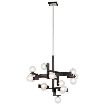 Network 15-Light Forest Bronze and Polished Chrome Pendant with Frosted Clear Glass Ball Shade
