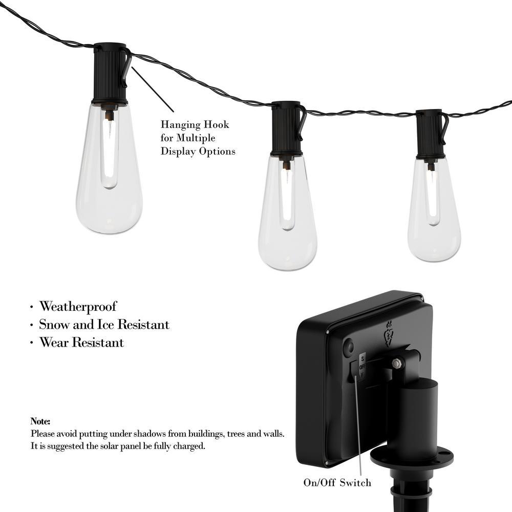 10-Light 14.5 ft. Outdoor Integrated LED Solar Vintage Style String Lights