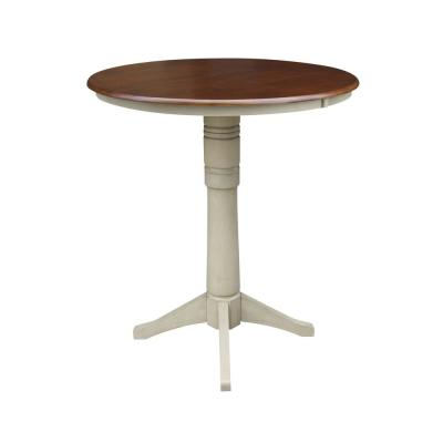 Olivia 36 in. Almond and Espresso Round Bar Table