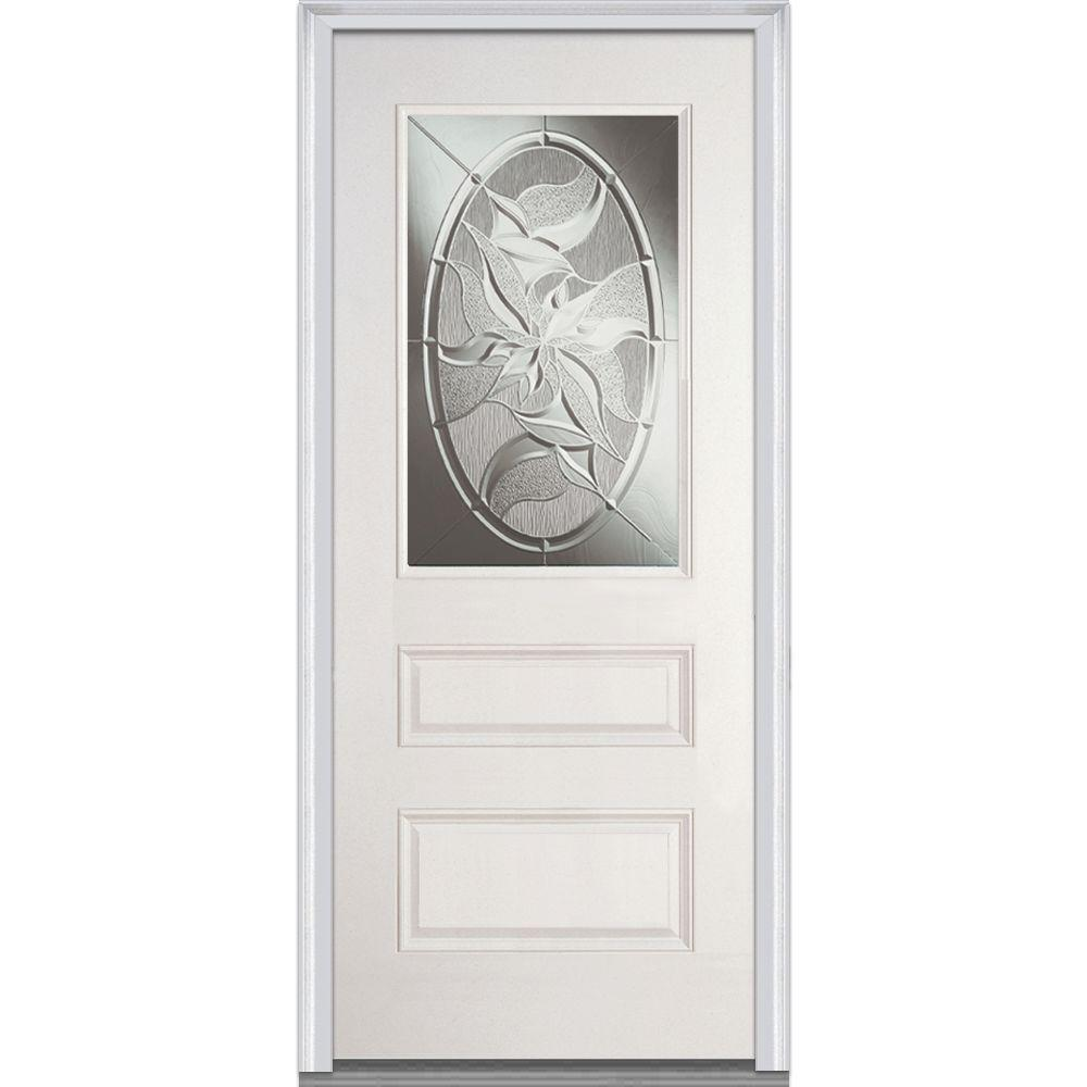 Milliken Millwork 36 in. x 80 in. Lasting Impressions Decorative Glass 1/2 Lite 1-Panel Primed White Fiberglass Smooth Prehung Front Door
