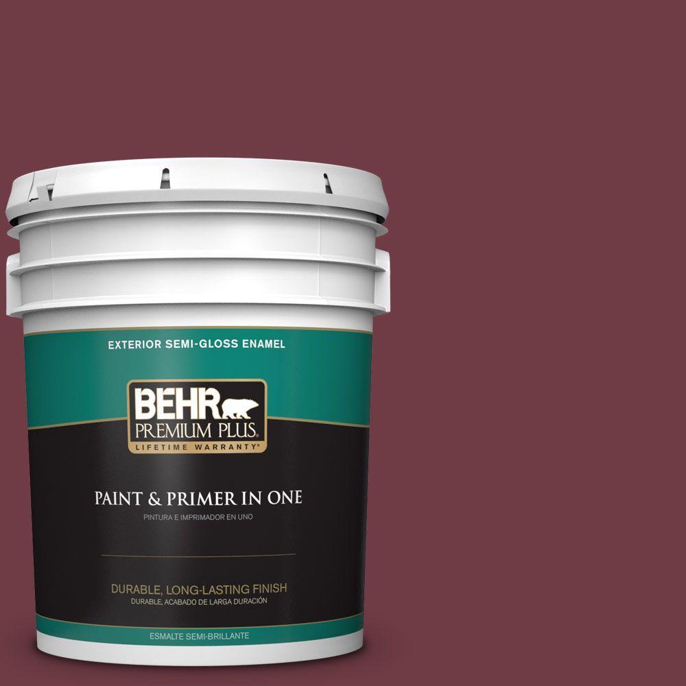 5-gal. #BXC-90 Wild Cranberry Semi-Gloss Enamel Exterior Paint