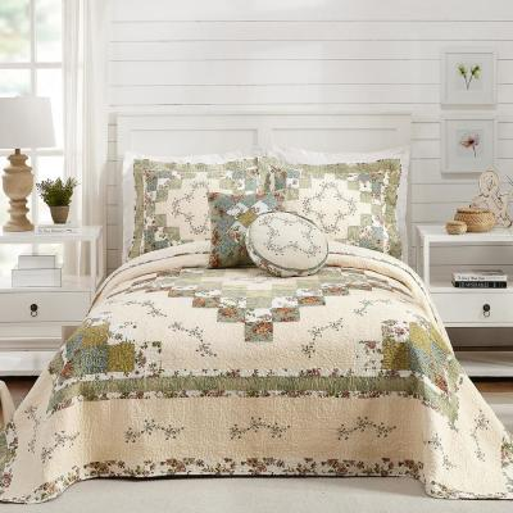 Olivia Green Queen Cotton Bedspread