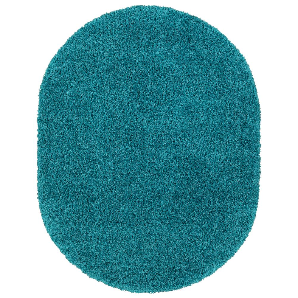 Sweet Home Stores Cozy Shag Collection Turquoise 5 ft. x 7 ft. Contemporary Shag Oval Area Rug
