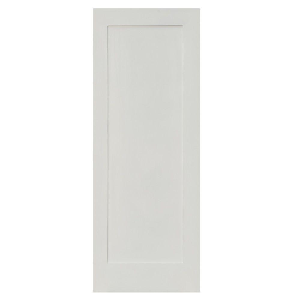 Krosswood Doors 28 in. x 80 in. 1-Panel Shaker Solid Hybrid Core MDF Primed Right-Hand Single Prehung Interior Door