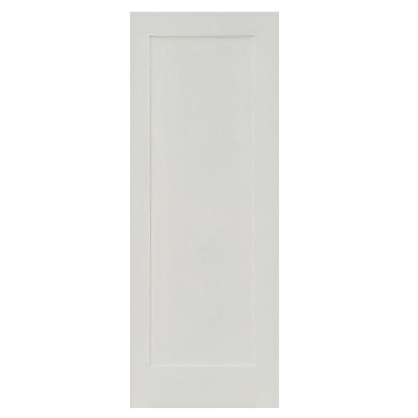 30 in. x 80 in. Shaker 1-Panel Primed Solid Hybrid Core MDF Right-Hand Single Prehung Interior Door