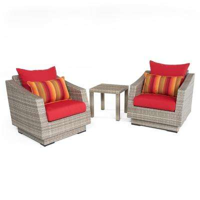 Cannes 3-Piece All-Weather Wicker Patio Club Chairs and Side Table Seating Set with Sunset Red Cushions