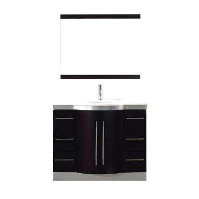Dinara 42 in. Vanity in Chai with Nougat Quartz Vanity Top in Chai and Mirror