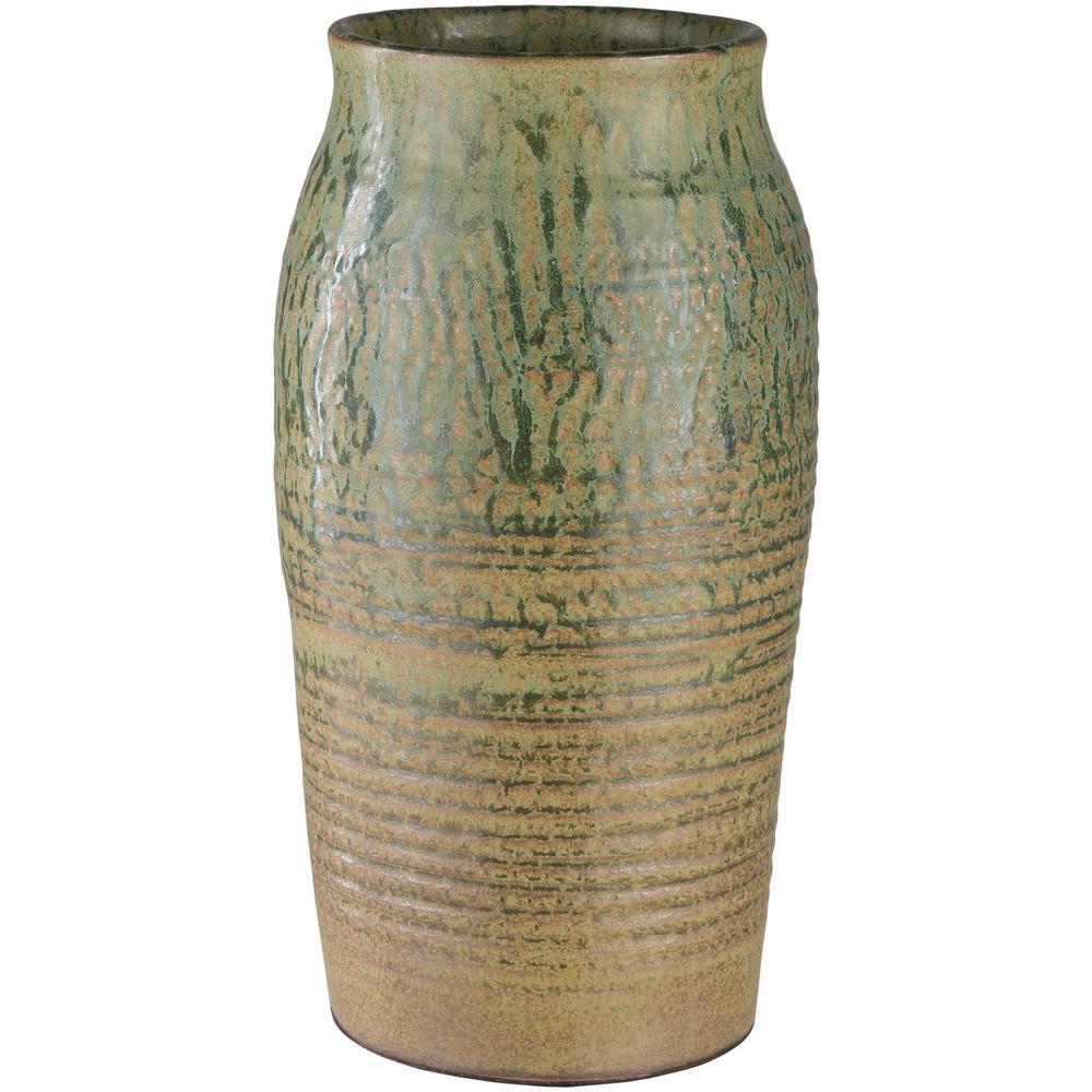Salia 12.5 in. Ceramic Decorative Vase in Green