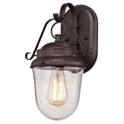 Elmwood 1-Light Aged Brown Outdoor Wall Mount Lantern