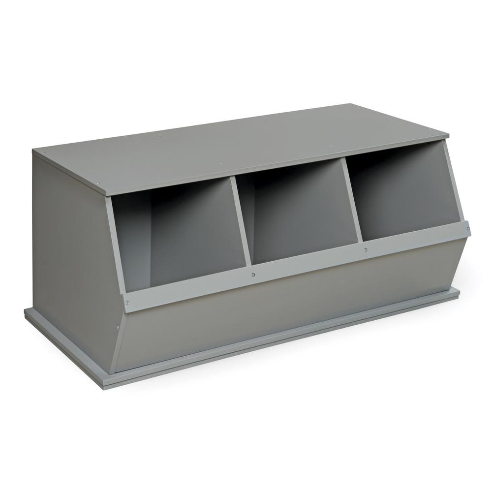 37.25 in. W x 19.25 in. D Gray Stackable 3-Storage Cubbies