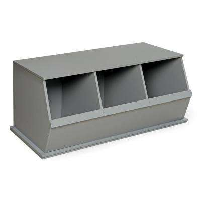 37 in. W x 17 in. H x 19 in. D Gray Stackable 3-Storage Cubbies