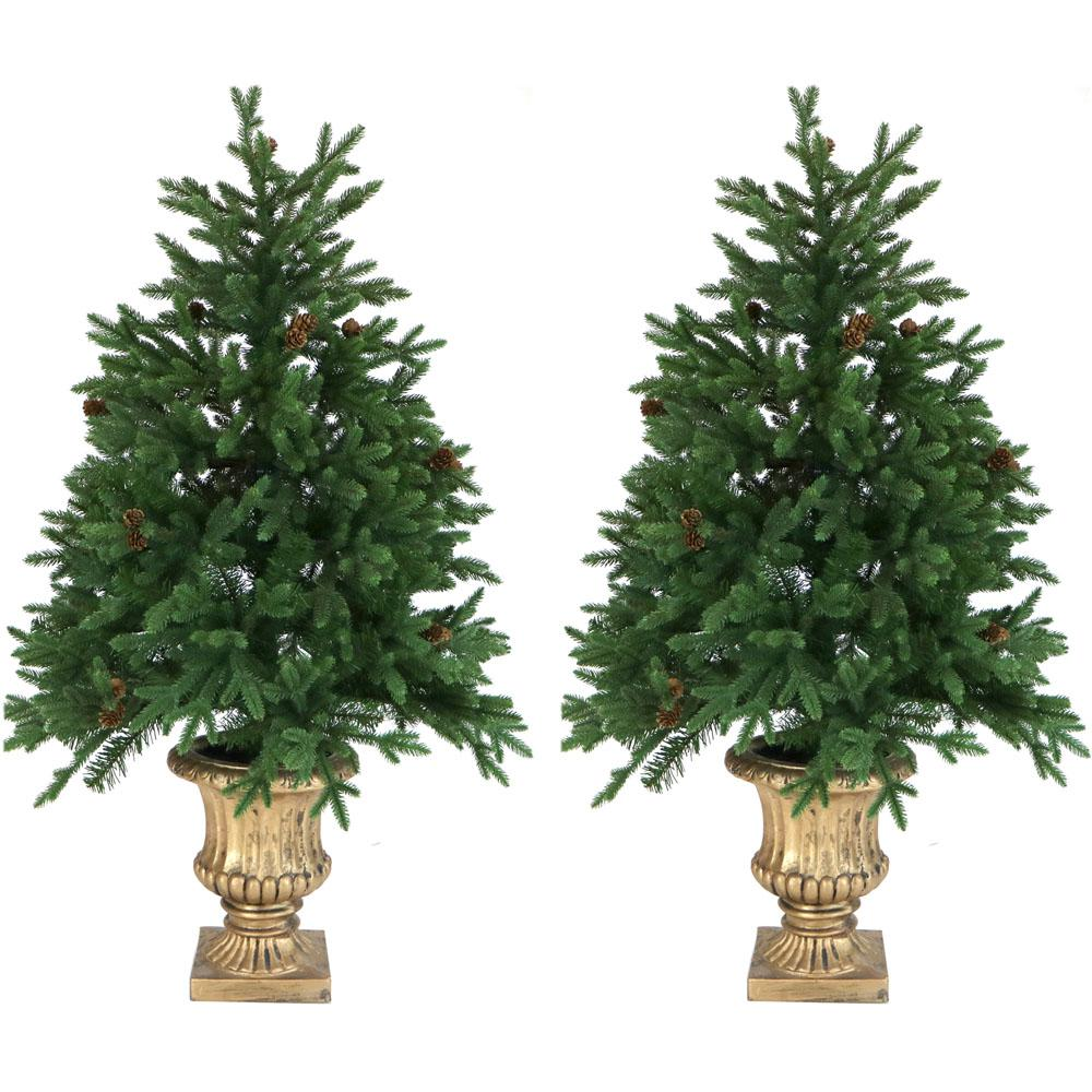 4 ft. Noble Fir Artificial Trees with Metallic Urn Bases and