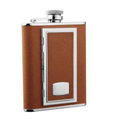 SP Brown Leatherette Liquor Flask with Built-In Cigarette Case