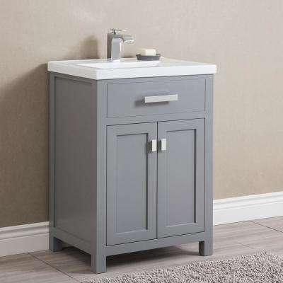 Myra 24 in. Bath Vanity in Cashmere Grey with Integrated Ceramics Vanity Top and Sink