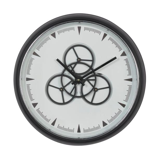 Round Black And White Metal Wall Clock With Functioning Gear Center, 20'' X 20''