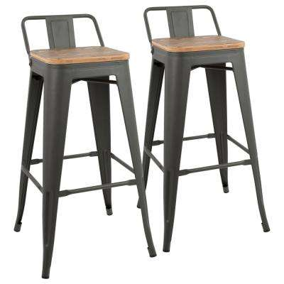 Oregon Grey and Brown Low Back Barstool (Set of 2)