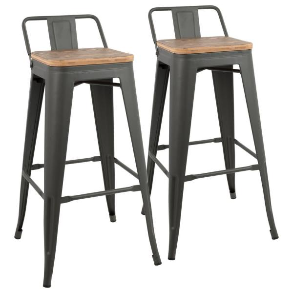 Fabulous Lumisource Oregon Grey And Brown Low Back Barstool Set Of 2 Andrewgaddart Wooden Chair Designs For Living Room Andrewgaddartcom