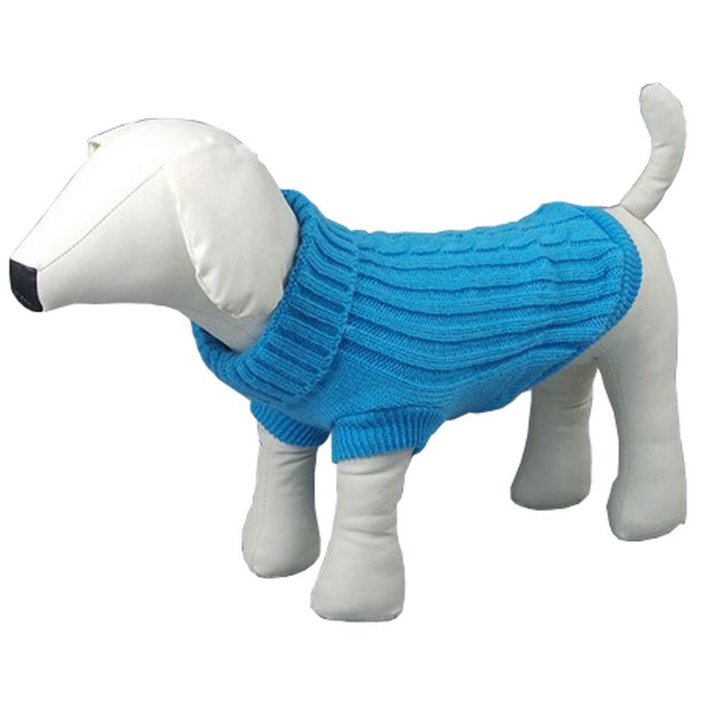 Small Blue Heavy Knit Cotton Rib-Collared Dog Sweater
