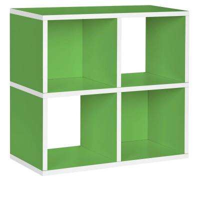 Quad 4-Cubby 12 x 26.4 x 24.8 zBoard  Stackable Bookcase, Tool-Free Assembly Stackable Storage Shelf in Green