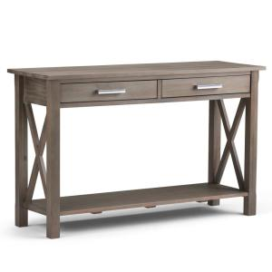 Kitchener Solid Wood 47 in. Wide Contemporary Console Sofa Table in Distressed Grey