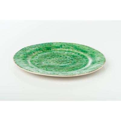 Bali 4-piece Green & White Ceramic Dinner Plate Set