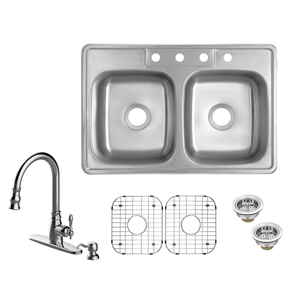 Kitchen Sink Keeps Backing Up: Glacier Bay All-in-One Drop-In 20-Gauge Stainless Steel 33