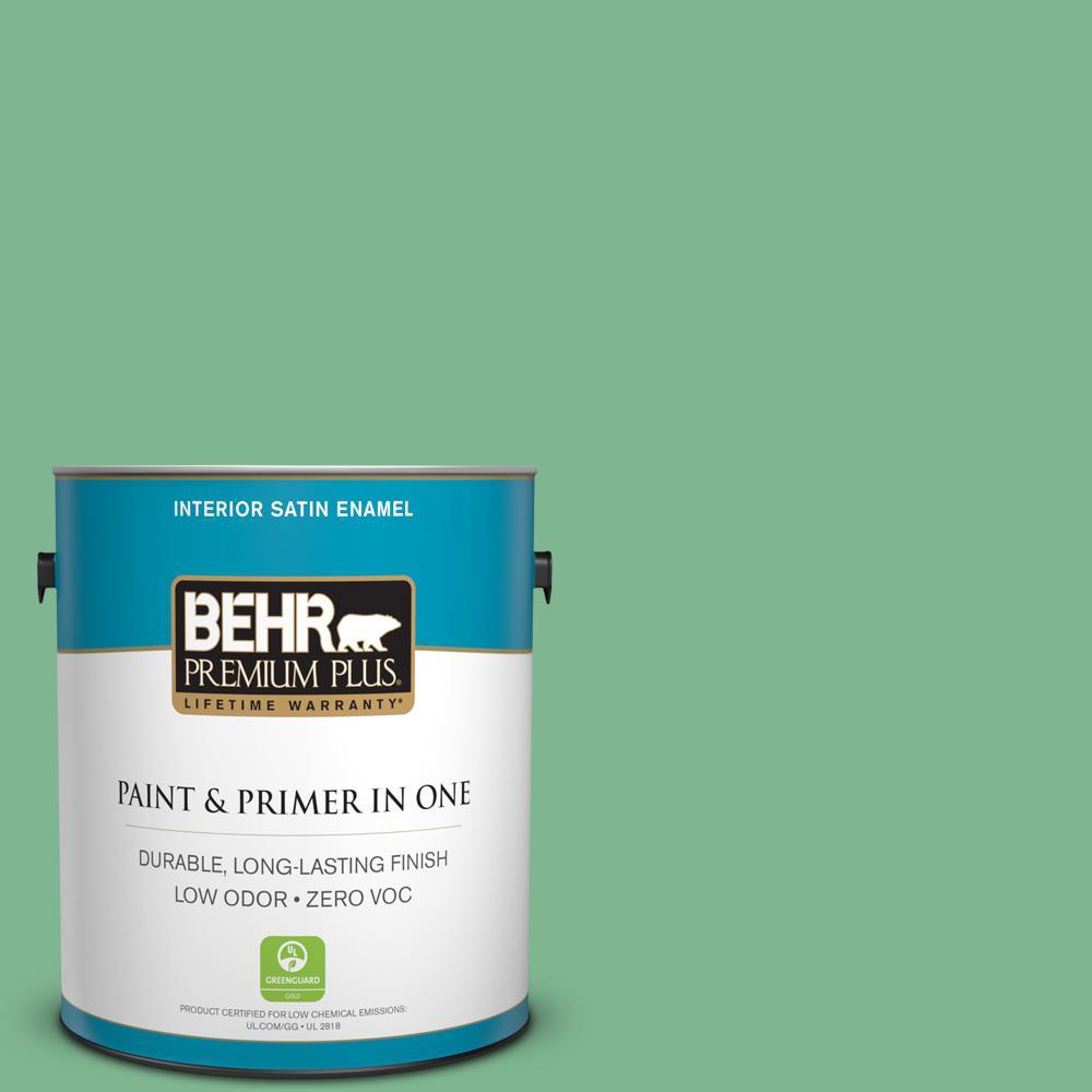 1-gal. #BIC-40 Veiled Chameleon Satin Enamel Interior Paint